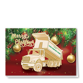 Premium Foil Trucking Christmas Cards - Christmas Roll Off