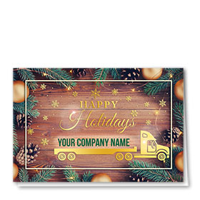 Premium Foil Trucking Christmas Cards - Golden Holiday