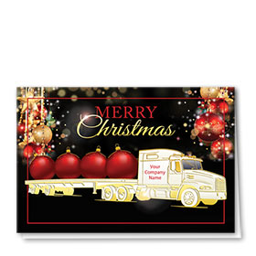 Premium Foil Trucking Christmas Cards - Classy Flatbed