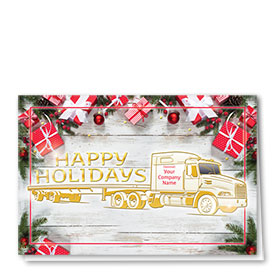 Premium Foil Trucking Christmas Cards - Gifts Flatbed