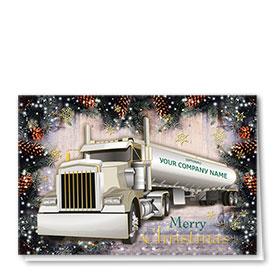 Premium Foil Trucking Christmas Cards - Pine Tanker