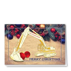 Premium Foil Construction Christmas Cards - Burlap Excavator