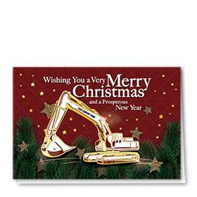 Premium Foil Construction Christmas Cards - Excavator Stars