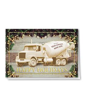 Premium Foil Construction Christmas Cards - Gold Star Concrete