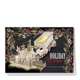Premium Foil Construction Christmas Cards - Gold Pine