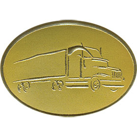 Gold Christmas Card Foil Seals - Tractor Trailer