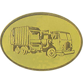 Gold Christmas Card Foil Seals - Garbage Truck