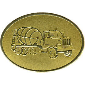 Gold Christmas Card Foil Seals - Cement Truck