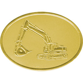 Gold Christmas Card Foil Seals - Excavator