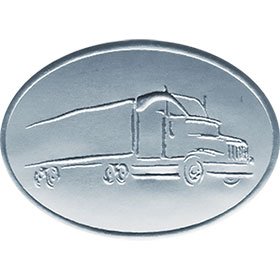 Silver Christmas Card Foil Seals - Tractor Trailer