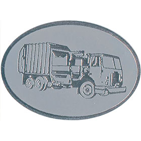 Silver Christmas Card Foil Seals - Garbage Truck