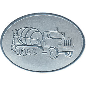 Silver Christmas Card Foil Seals - Cement Truck