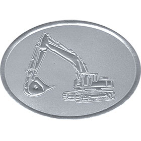 Silver Christmas Card Foil Seals - Excavator
