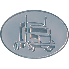 Silver Christmas Card Foil Seals - Tractor Cab
