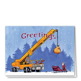Construction Christmas Cards - Santa's Crane