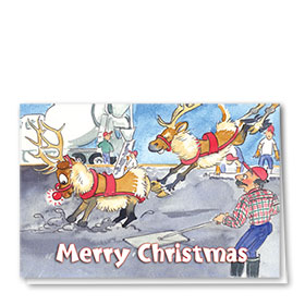 Construction Christmas Cards - Whoa Rudolf!