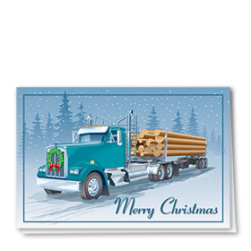 Trucking Christmas Greeting Cards - Timber to Go