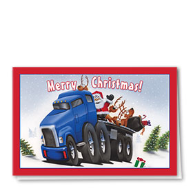 Trucking Christmas Cards - Santa and Friends