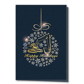 Premium Construction Christmas Foil Cards - Metallic Excavator