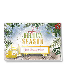 Premium Foil Trucking Christmas Cards - Joyful Haul