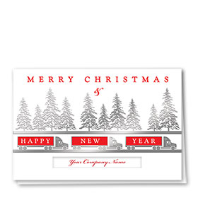 Premium Foil Trucking Christmas Cards - Three Trucks