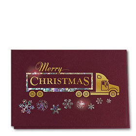 Premium Foil Trucking Christmas Cards - Burgundy Haul