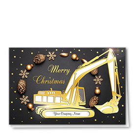 Premium Foil Construction Christmas Cards - Gilded Décor