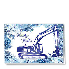 Premium Foil Construction Christmas Cards - Azure Excavator