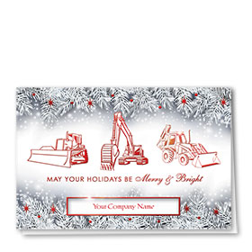 Premium Foil Construction Christmas Cards - Frosted Trio