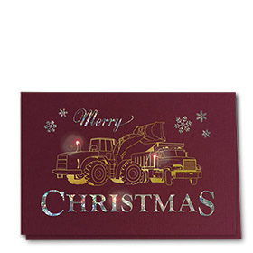 Premium Foil Construction Christmas Cards - Burgundy Duo