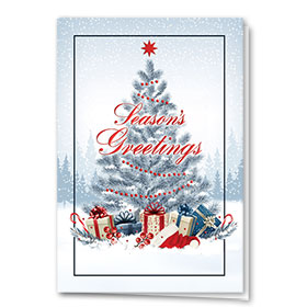 Premium Foil Construction Christmas Cards - Red Decor