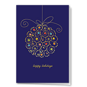 Premium Foil Construction Christmas Cards - Colorful Dots