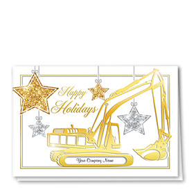 Premium Foil Traditional Christmas Cards - Shimmering Stars