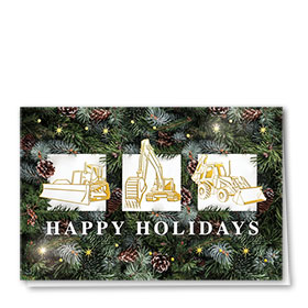 Premium Foil Traditional Christmas Cards - Pine Branch Trio