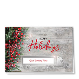 Premium Foil Trucking Christmas Cards - Pine Berry Truck