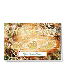 Premium Foil Construction Christmas Cards - Rustic Three