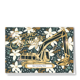 Premium Foil Construction Christmas Cards - Winter Floral