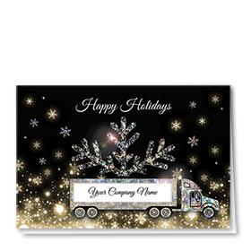 Premium Foil Trucking Christmas Cards - Glittering Night
