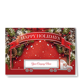 Premium Foil Trucking Christmas Cards - Holiday Banner