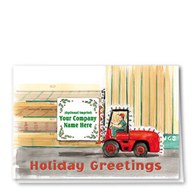 Construction Christmas Cards - Lumber Skid Loader Greetings