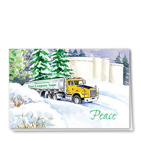Trucking Christmas Cards - Snowy Tanker