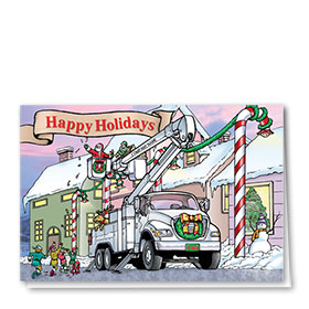 Construction Christmas Cards - Crane Scene