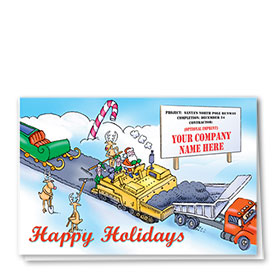 Construction Christmas Cards - Santa's Runway