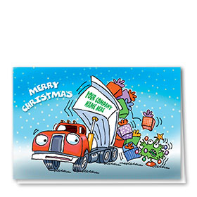 Trucking Christmas Greeting Cards - Fun Dump Truck