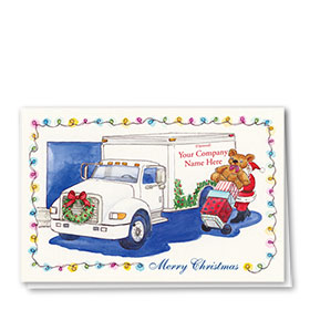 Trucking Christmas Greeting Cards - Watercolor Delivery