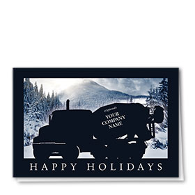 Construction Christmas Cards - Navy Silhouette