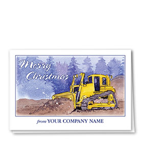 Construction Christmas Cards - Winter Day Dozer