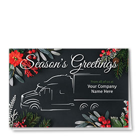 Trucking Christmas Cards - Evergreen Outlines