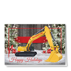 Construction Christmas Cards - Holiday Excavator