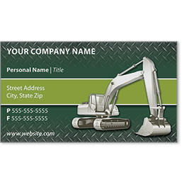 Full-Color Construction Business Cards - Excavator 1